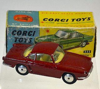 Corgi No.222 Renault Floride dark red body, cream interior, silver trim, flat spun hubs - great exam