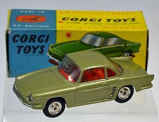 Corgi No.222 Renault Floride metallic green body, red interior, silver trim, flat spun hubs - great