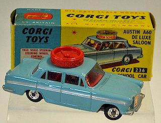 "Corgi No.236 Austin A60 De Luxe Saloon ""Motor School"" Car - pale blue, red interior and roof disc, s"