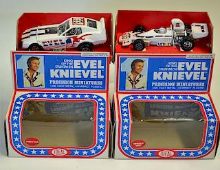 """Ideal Toy Corp a pair of """"Evel Knievel"""" (1) Funny Car and (2) Formula 5000 Racing Car - both are fin"""