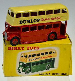 """Dinky No.290 Double Deck Bus - cream over red lower body, ridged hubs """"Dunlop"""" in upright text to si"""