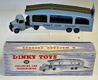 """Dinky No.582 Bedford Pullmore Car Transporter light blue cab and trailer with """"Dinky Toys Delivery S"""