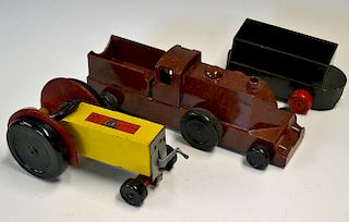 Chad Valley Bakelite train toy having brown body with black wheels together with a similar truck hav