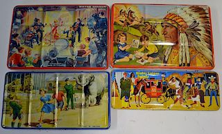 Selection of 4 Vintage Paint Boxes all having illustrated lids featuring Cowboys and Indians, Pop Gr