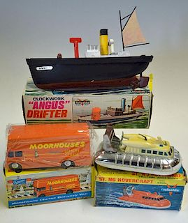 Collection of 3 Plastic Toys to include Telsalda Clockwork Angus Drifter working and Boxed (been rep