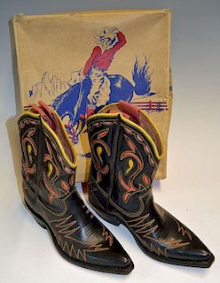 Pair of Children's Texas Cowboy Boots with colourful design in original box, boot having hardly any
