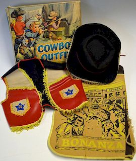 Berwick Cowboy Play Outfit consisting of Hat, Waistcoat, Trousers have a Bonanza illustration on the