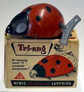 Tri-ang Minic Clockwork Ladybird by Lines Brothers Ltd working in original box and key 8cm (Box is m