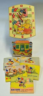 1950s / 60s Noddy Wall Clock with illustrated clock face and Noddy's head moves as the seconds go by