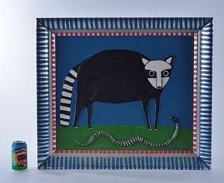 Marvin Bailey Folk Art Painting (racoon/snake)