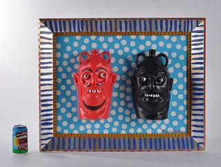 Marvin Bailey Folk Art Painting (face jugs)