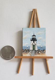 "Fine Miniature Oil on Canvas, ""Brant Point Light"", Nantucket"
