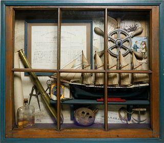 "Elmer Zarney Maritime Shadowbox ""Peering Through a Window"""