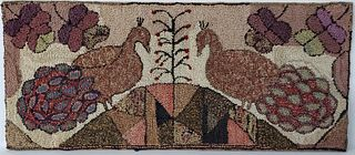 Folk Art Hooked Rug with Two Peacocks, 19th Century
