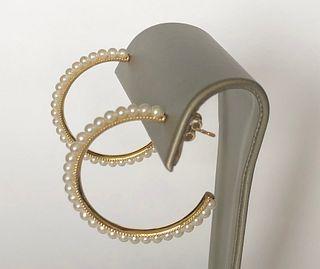 Fine Pair of Freshwater Pearl 14k Gold Hoop Earrings