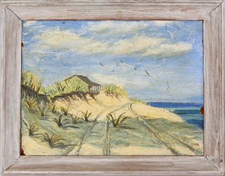 "Louise Stark Oil on Masonite ""Squam Nantucket Landscape"""