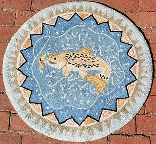"""Claire Murray Hooked Rug, """"Fish On"""""""