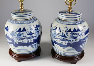 Pair of Chinese Blue and White Porcelain Ginger Jar Lamps, Contemporary