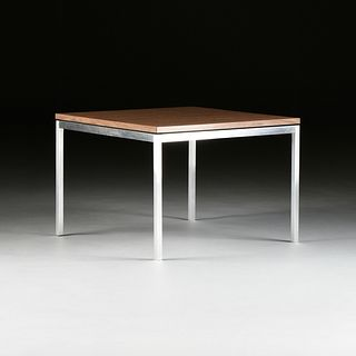 A FLORENCE KNOLL FAUX WOOD LAMINATE AND BRUSHED STAINLESS STEEL SIDE TABLE, BY KNOLL ASSOCIATES INC, LABELED, NEW YORK, 1961-1970,