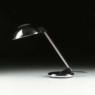 A VINTAGE BAUHAUS STYLE CHROME DESK LAMP, POSSIBLY ITALIAN,1960s,