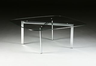 """A MID-CENTURY """"BARCELONA"""" STYLE GLASS TOPPED CHROME COFFEE TABLE, 1960s,"""