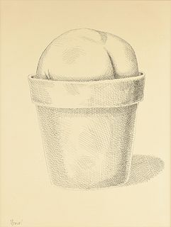 """BRUCE MONICAL (American/Texas b. 1936) A PRINT, """"Potted Lithops Succulent,"""""""