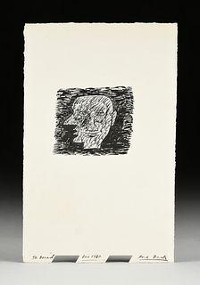 "DEREK BOSHIER (British b. 1937) A DRAWING, ""Head of Man,"" DECEMBER 1980,"
