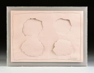 """A CONCEPTUAL ART PAPER SCULPTURE, """"Four Torn Circles,"""" CIRCA 1974,"""
