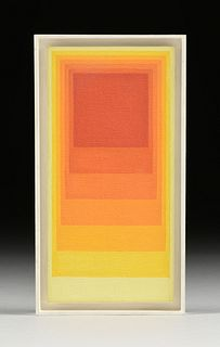 """SIBYL EDWARDS (Canadian b. 1944) A GEOMETRIC ABSTRACTION PAINTING, """"Red to Yellow Gradient Squares,"""" 1975,"""