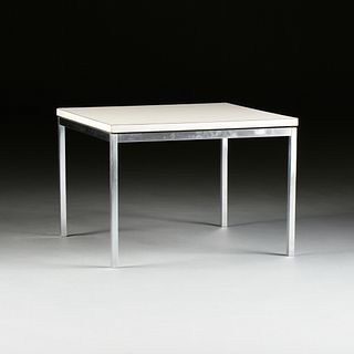 A FLORENCE KNOLL WHITE LAMINATE AND BRUSHED STAINLESS STEEL SIDE TABLE, BY KNOLL ASSOCIATES, LABELED, THIRD QUARTER 20TH CENTURY,