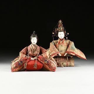 A PAIR OF JAPANESE HINAMATSURI DOLLS IN TRADITIONAL HEIAN DRESS, MEIJI PERIOD (1867-1912),