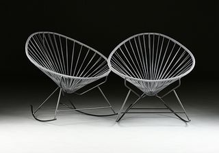 """A PAIR OF CONTEMPORARY """"ACAPULCO EGG"""" PLASTIC CORD AND STEEL ROD ROCKING CHAIRS,"""