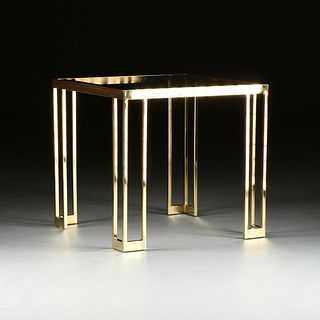 A VINTAGE MODERN GLASS TOPPED AND BRASSED METAL SIDE TABLE, 1960s,