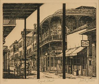 """JACK R. MILLER (American 1942-2014) A PRINT, """"Royal Street, French Quarter, New Orleans,"""" 1972,"""