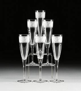 """A SET OF SIX TIFFANY & CO. CRYSTAL """"MILLENNIUM"""" CHAMPAGNE FLUTES, SIGNED, LATE 1990s,"""
