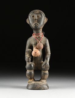AN AFRICAN FANG PEOPLES WOOD ANCESTRAL RELIQUARY GUARDIAN FIGURE, OKAK GROUP, 20TH CENTURY,