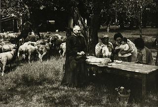 """ÉDOUARD BOUBAT (French 1923-1999) A PHOTOGRAPH, """"Priest and People at Picnic,"""""""