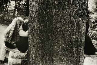 """ÉDOUARD BOUBAT (French 1923-1999) A PHOTOGRAPH, """"Tree Trunk with People,"""" """""""