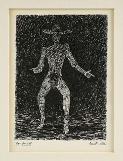"DEREK BOSHIER (English b. 1937) A DRAWING, ""Midnight Cowboy,"" 1980,"