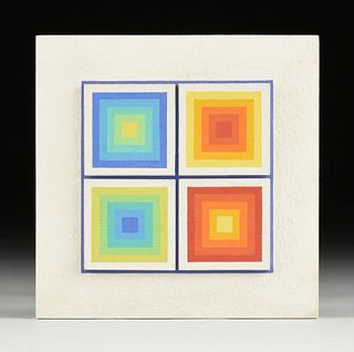 """SIBYL EDWARDS (Canadian b. 1944) AN OP ART PAINTING, """"Four Gradient Squares,"""" CIRCA 1975,"""