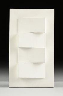 "SIBYL EDWARDS (Canadian b. 1944) A CONSTRUCTIVIST SCULPTURE, ""Four White Wedges,"" 1970,"