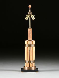 A RUSSEL WRIGHT BRASS MOUNTED BAMBOO TABLE LAMP, 1940s-1950s,
