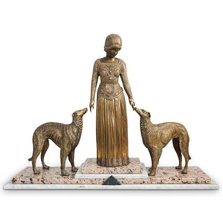 Art Deco Style Lady With Dogs Bronze