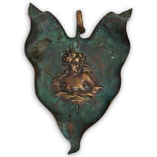 Art Nouveau Figural Bronze Leaf