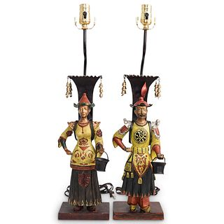 Pair of Chinoiserie Figural Lamps