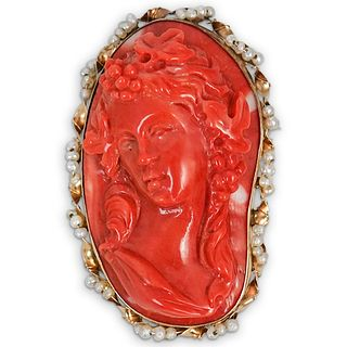 Antique 14k Gold, Red Coral, and Pearl Cameo Brooch
