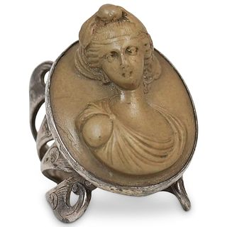 Antique Sterling and Lava Cameo Ring