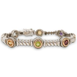 Sterling Silver and Rhinestone Bracelet