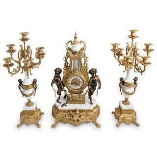(3 Pc) Italian Lancini Gilt Bronze Garniture Set