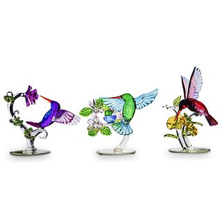 (3 Pc) Limited Edition Crystal Birds Figurines